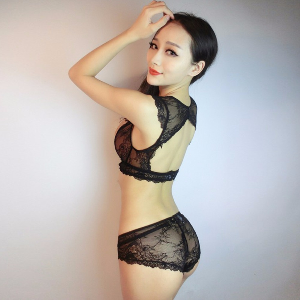 Dreamgirl Women Sexy Sheer Lace Bra Set Floral Push Up Deep V ...