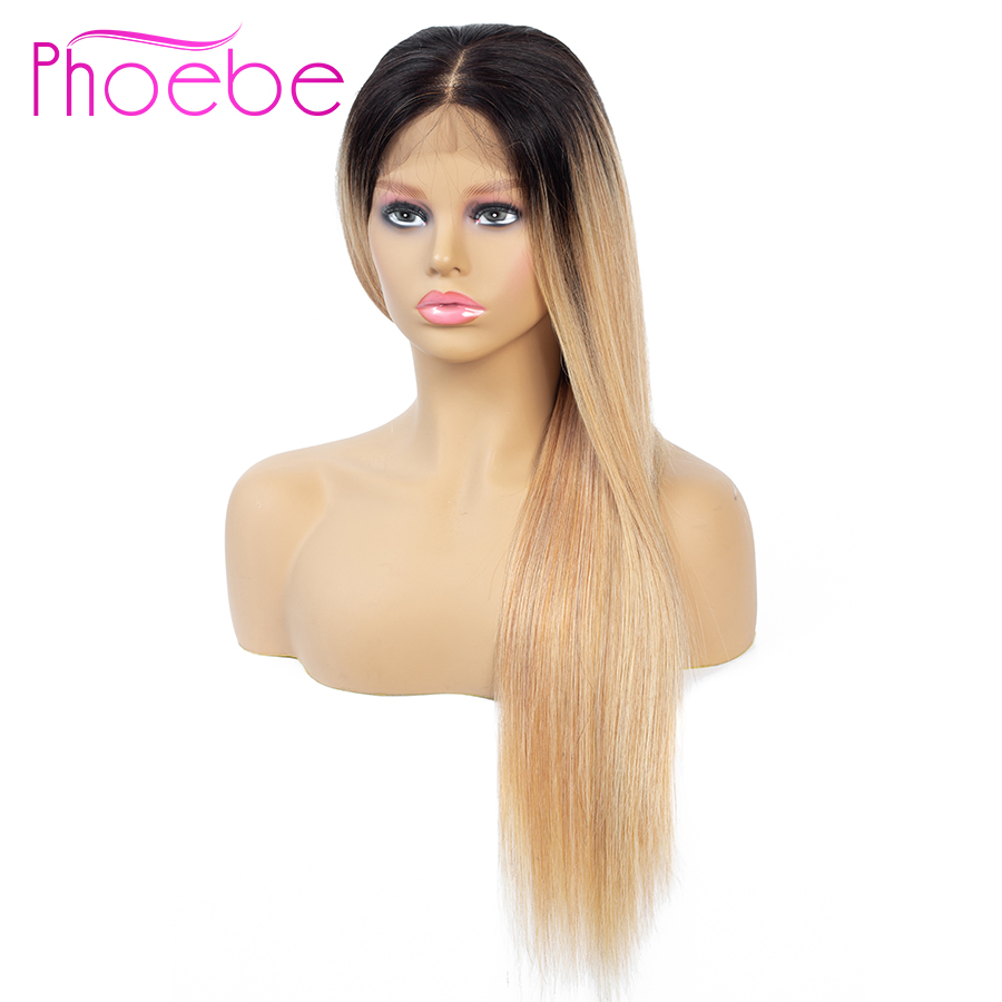 Phoebe 4x4 Ombre Blonde Lace Closure Wig Black 1B 27 Ombre Lace Closure Human Hair Wigs