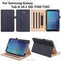 Официальный Оригинал Настоящее кожаный чехол Для Samsung Galaxy Tab A 10.1 T580 T585 Случаи Смарт-Чехол для Samsung T580 + пленка + стилус + OTG