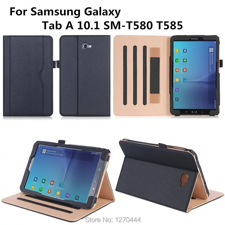 Official Original Real leather case For Samsung Galaxy Tab A 10.1 T580 T585 Cases Smart Cover for Samsung T580+film+stylus+OTG