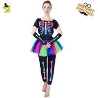 Для женщин костюм скелета взрослого День мертвых юбка фанки панк кости скелета Красочные Хэллоуин маскарадный костюм