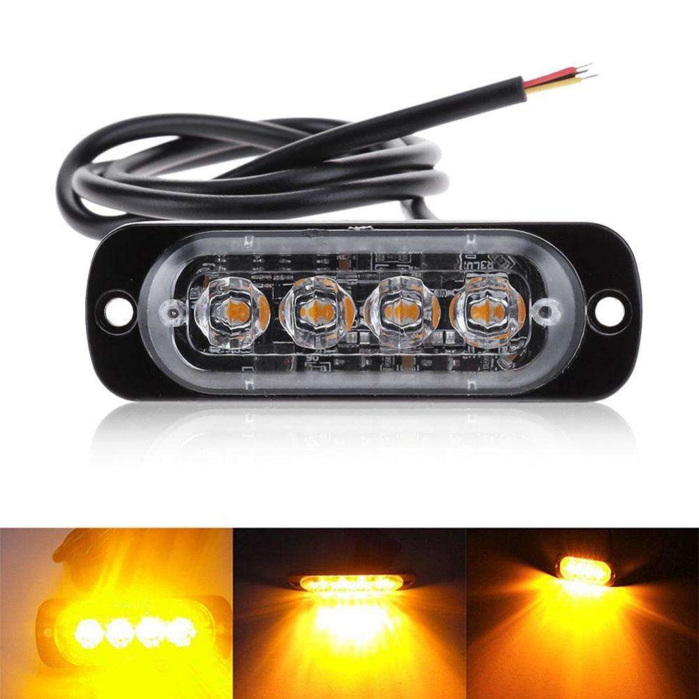 4pcs 4 LED Emergency Warning Traffic Beacon Strobe Light Bar Grille Amber Yellow