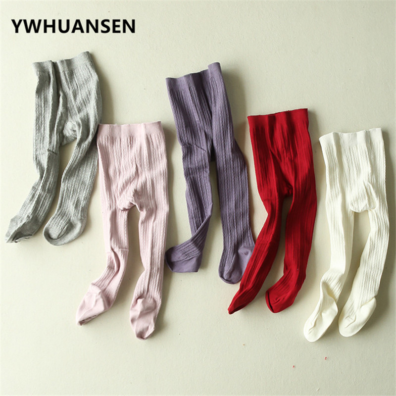 YWHUANSEN Fashion Little Girls' Cable Tight Autumn Stockings For Girls Popular Children's Pantyhose Cotton Kid Tights 2017 Cloth