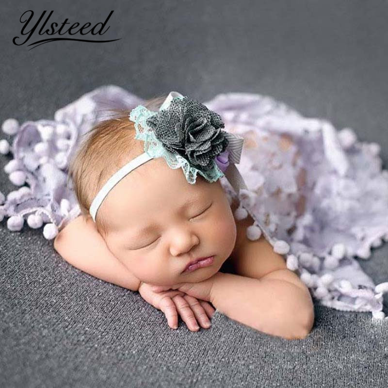 40cm*40cm Newborn Photography Props Baby Photo Wraps Lace Floral Blanket Swaddle with Tassels Baby Photo Props Infant Shoot