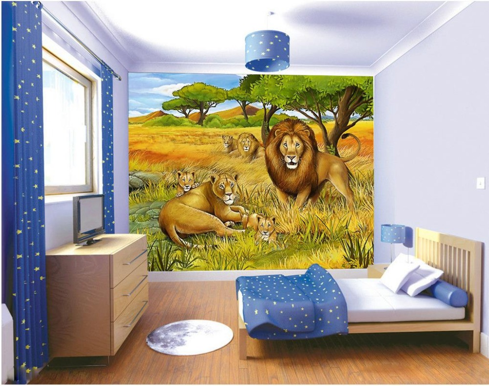 Wholesale 3d space mural wall papers animal lion painting kids wholesale 3d space mural wall papers animal lion painting kids room background wall forest wall mural in wallpapers from home improvement on aliexpress amipublicfo Gallery
