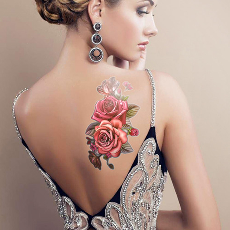 beauty 1piece make up Fake temporary tattoos stickers rose flowers arm shoulder tattoo waterproof women big flash tattoo on body 2