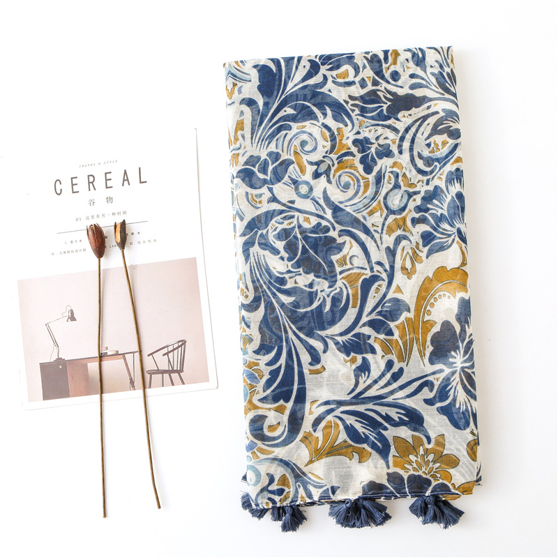 KYQIAO women autumn spring Chinese style ethnic vintage designer long print hijab   scarf     wraps   shawl birthday gifts