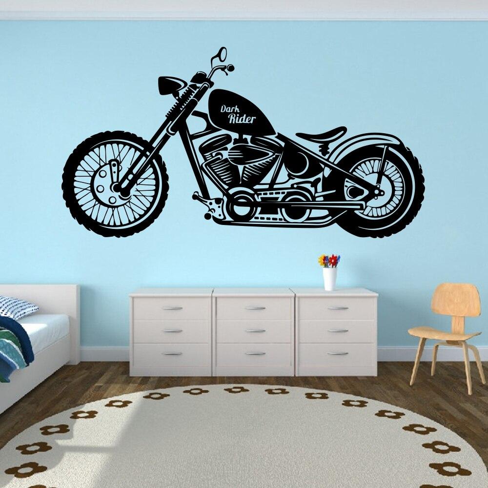 Besar Gelap Pengendara Sepeda Motor Motor Dinding Decal Pembibitan Anak Anak Kamar Sepeda Motor Stiker Dinding Garasi Anak Laki Laki Dekorasi Rumah Wall Stickers Aliexpress