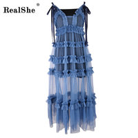 WRealShe Mesh V Neck Long Dress Women Two Pieces Backless 2017 Maxi Dresses Vestidos Sexy Beach