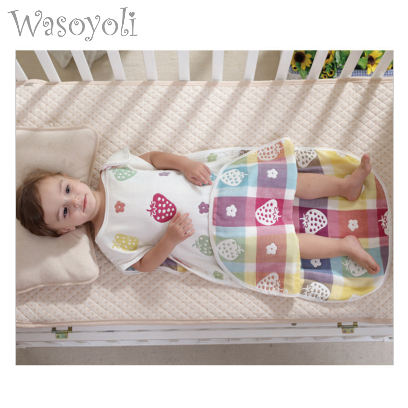 Wasoyoli Baby Sleeping Bag 6 Layers Muslin Cotton 0-24 Months Sleeveless Toddler Baby Girls Boys Blanket Sleepers Baby Clothing