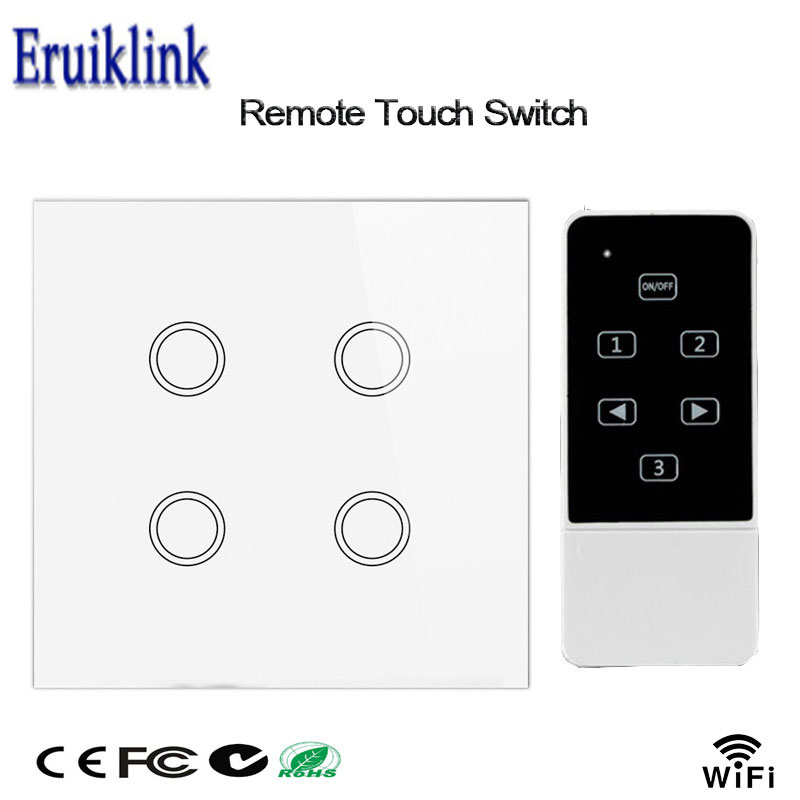 Smart Home Wifi Light Switch,4 Gang 1 Way,UK Standard,Wireless Remote Control Wall Light Switch,Glass Touch Panel For Smart Home funry eu uk standard wireless remote control light switches 2 gang 1 way remote control touch wall switch for smart home