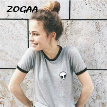 ZOGAA Streetwear Alien Print Women T-shirts Brand Cloth Top Tees Summer New Short Sleeve Slim Casual Female T-shirts Camis zogaa tie dyed midriff baring women t shirts loose fit casual tops brand cloth summer new shorts sleeve casual female t shirts