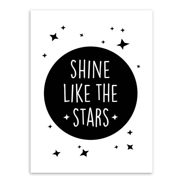 Nordic Motivational Quotes A4 Poster Print Star Wall Art Picture Modern Black White Kids Room Deco Canvas Painting Custom Gift