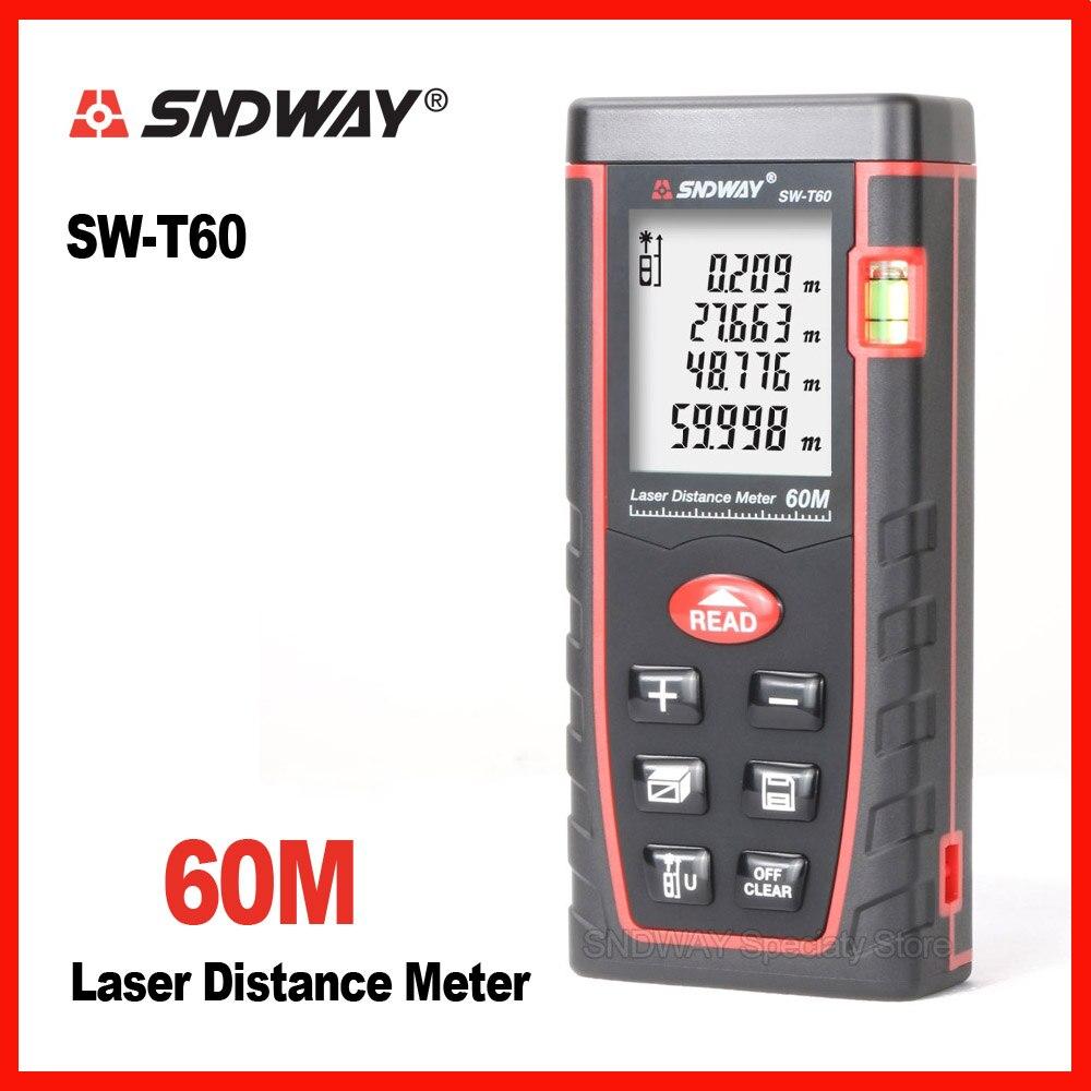 Genuine Sndway 60 m Palmare laser range finder distanza misuratore di misura di nastro roulette trena telemetro Elettronico righello strumento