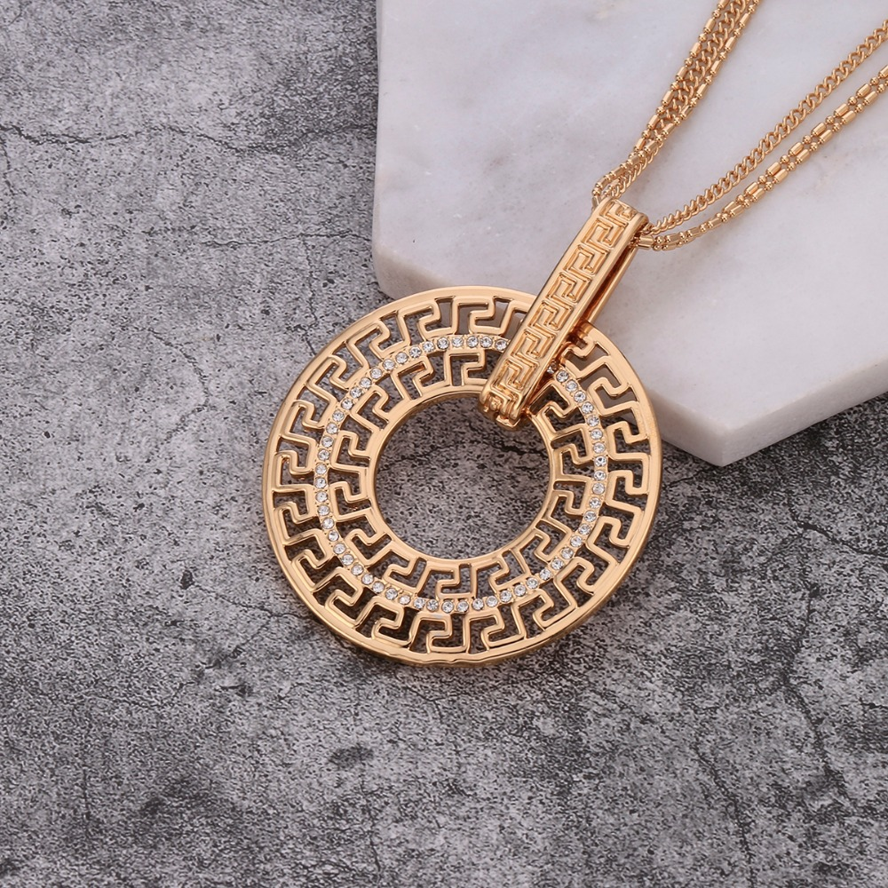 Vintage Ancient Mysterious Panting Czech Drilling Long Necklace for Women Winter Sweeter Necklace Environmental Jewelry XL07514