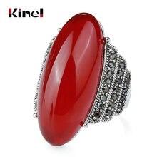 Kinel роскошное кольцо с большим овальным камнем для женщин