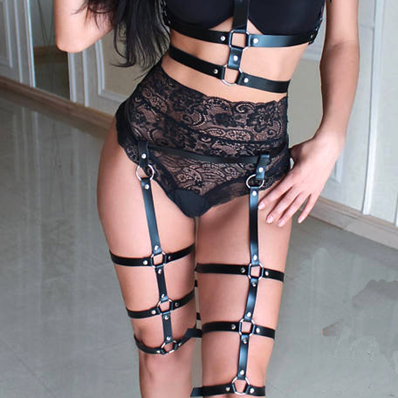 Women black cage bra exotic apparel gothic sexy lingerie cosplay bondage garters