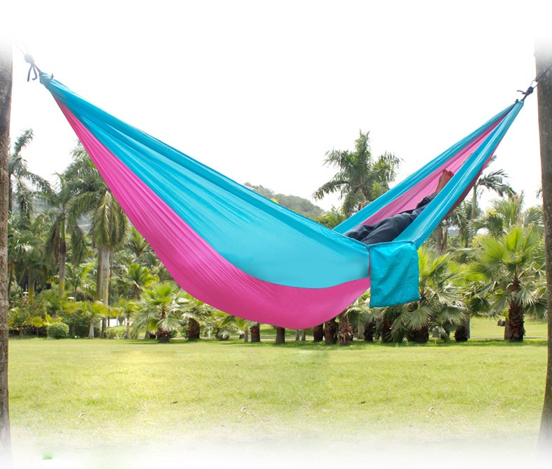 2 People Outdoor Leisure Parachute Hammock for font b Camping b font Travel Outdoor Parachute Fabric