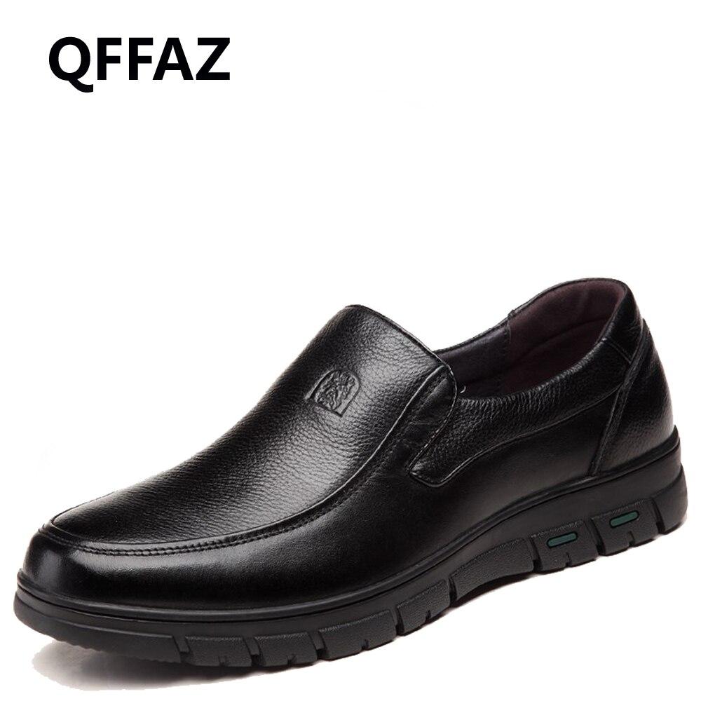 QFFAZ Genuine Leather Shoes Men Brand Footwear Non slip Thick Sole Fashion Men s Casual Shoes