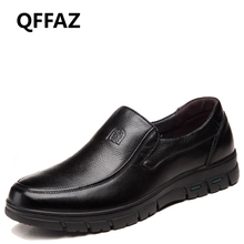 QFFAZ Genuine Leather Shoes Men Brand Footwear Non-slip Thick Sole Fashion Men's Casual Shoes Male High Quality Cowhide Loafers