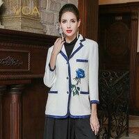 VOA белый тяжелый Шелковый блейзер для женщин Вадим Винтаж китайский вышивка женские офисные Бизнес пиджак Роскошный тонкий пальто WSH00201