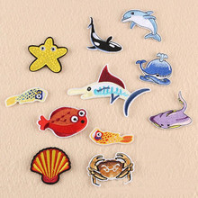 DOUBLEHEE Marine Benthic Animal Patch Embroidered Iron On Patches For Clothing Embroidery Design diy Phone Bag Accessories
