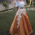 Blanco Apliques Faldas Largas Por Encargo de La Cremallera de La Cintura Una Línea de Piso-Longitud Maxi Falda Mujeres Hermosas Faldas