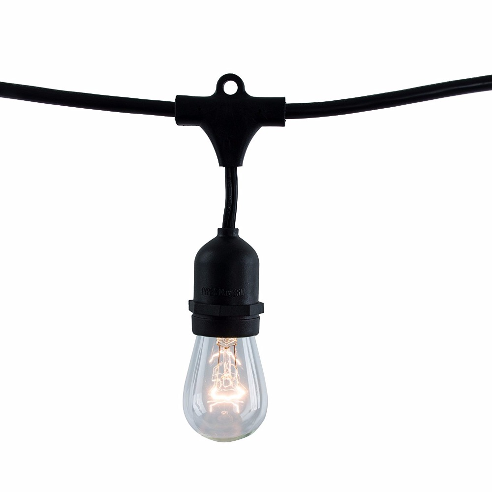 String Light Company Vintage 48-Ft Outdoor Commercial String Lights with 15 Suspended Sockets and 15 Clear S14 Bulbs, E27 Globe 24 feet outdoor string lights weatherproof commercial grade outdoor lights with 12 hanging sockets and 18 edison bulb 11w