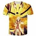 Newest Galaxy 3D t shirt Harajuku tee shirt Classic Anime Naruto t shirts tees Gold Kurama and Uzumaki Naruto Print tshirts