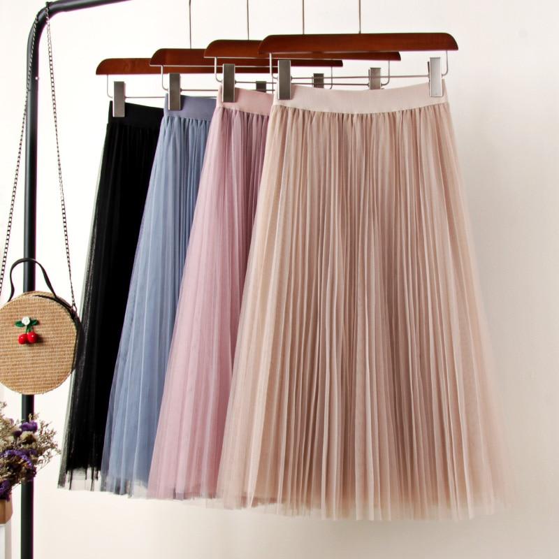 Tulle Skirts Womens Midi Pleated Skirt Black Pink Tulle Skirt Women 2020 Spring Summer Korean Elastic High Waist Mesh Tutu Skirt
