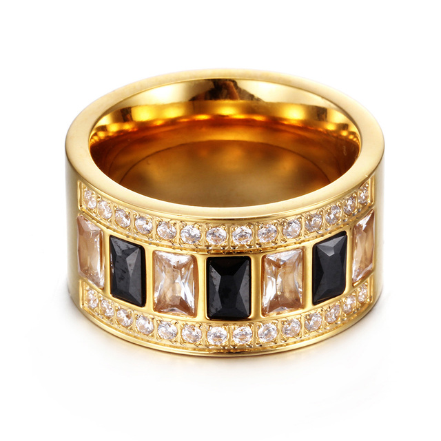 Women Luxury CZ Diamond Ring Exquisite Gold Plated Stainless Steel Party Wedding Engagement Ring Utr8146