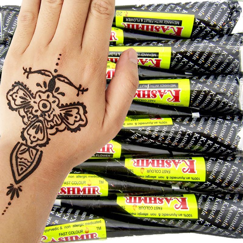 US $22.42 11% OFF|12pcs KASHMIR Indian Most Black Henna Tattoo Paste  Cones,Hand Finger Henna Paste Cream Cone Tattoo Design Body Paint Kit  30g-in Body ...