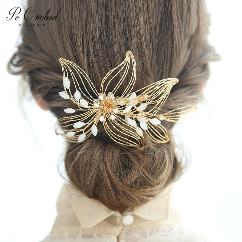 PEORCHID 2019 Handmade Flower Wedding Hair Combs Gold Head Jewelry For Women Headpiece Bridal Hair Accessories Elegant Hair Vine