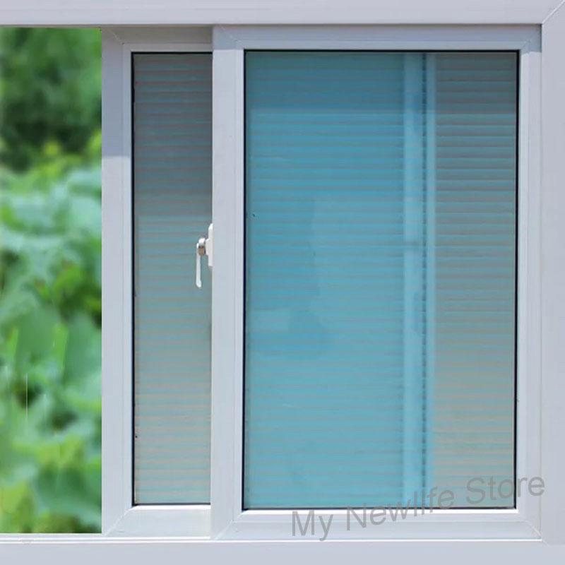 Privacy Window flim Sticker Blue imitation blinds Glass Sticker Frosted Opaque Bathroom Balcony Sliding Door home decor 80*200cm