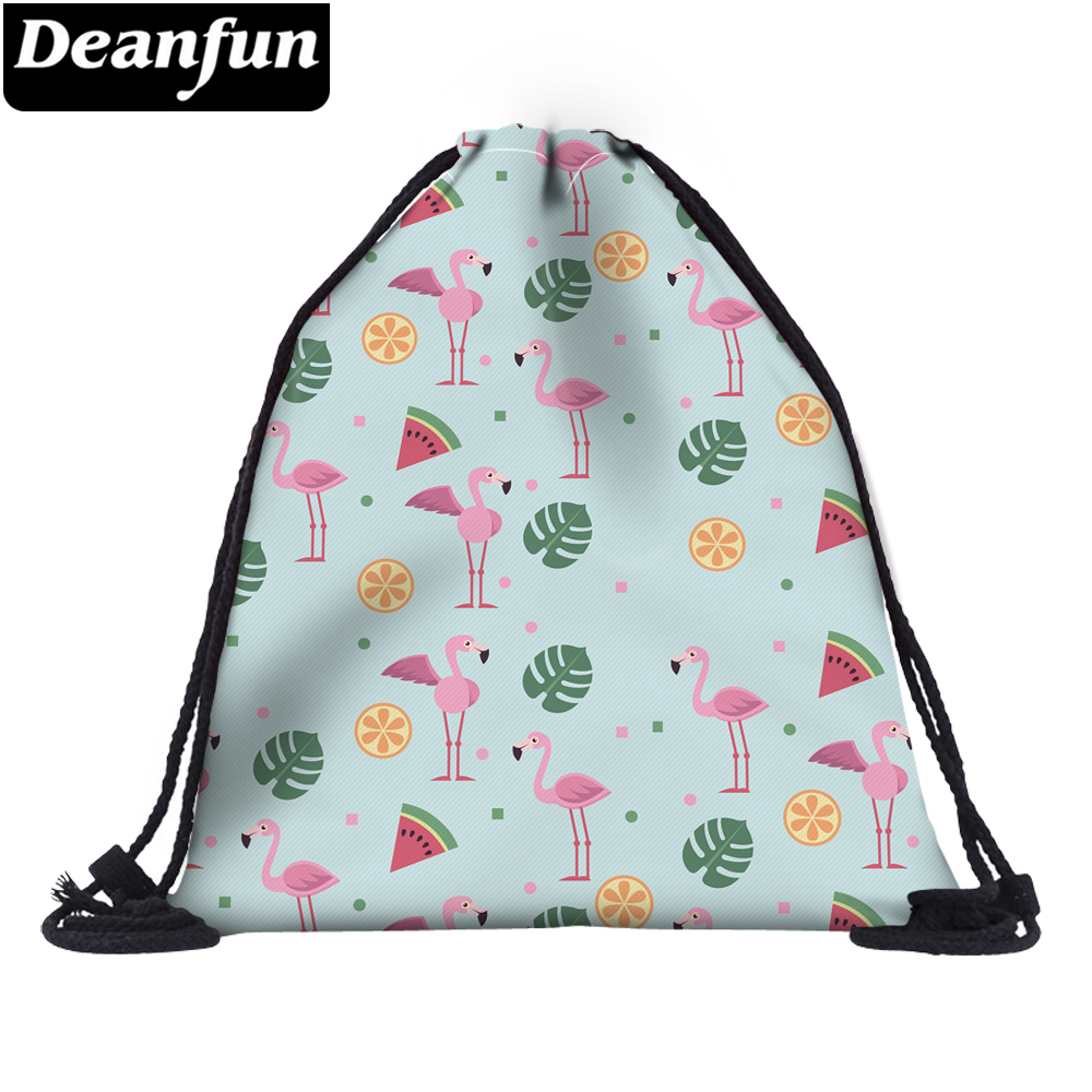 Deanfun 3D Printed Flamingo Drawstring Bag Fashion For Women Summer Travel 60152 #