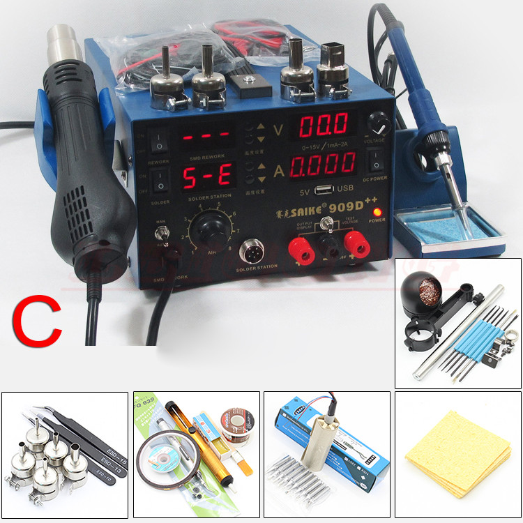 цены  SAIKE 909D++ 3in1 Soldering iron + Heat Gun + Power Supply Welding Repair Solder Station With Free Gifts 110V or 220V