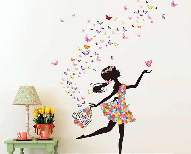 removable diy pvc wall sticker decor sweet romance flower fairy