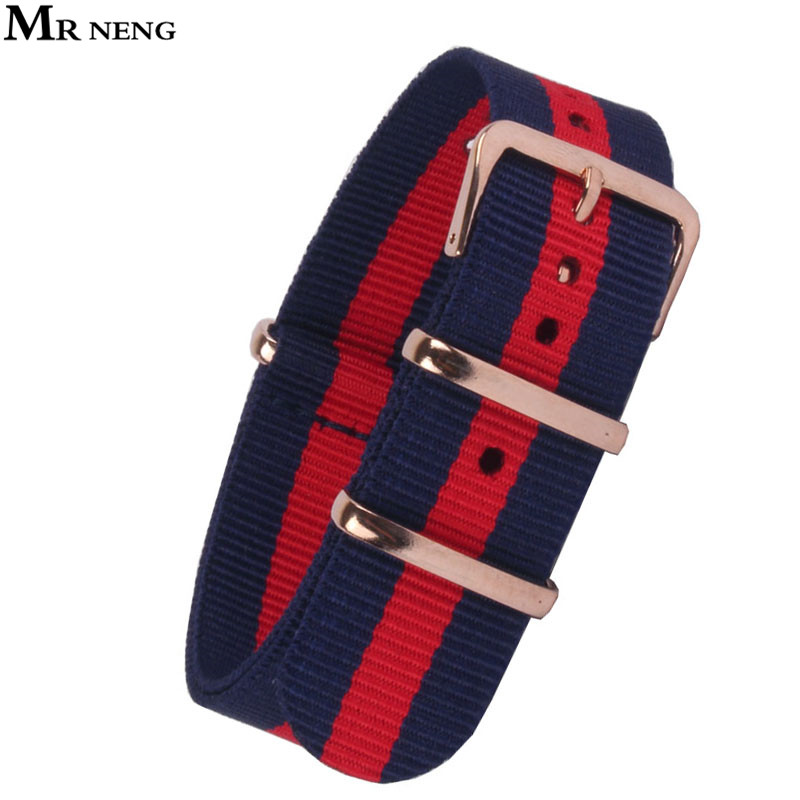 MR NENG Nato Watchband 22mm Nylon Strap Watch Band 18mm 20mm Rose Gold Bracelet Buckle Band for watch 20mm For Reloj Mujer Belts 2017 new brand watch strap watchband nato strap 22mm nylon watch band waterproof watch strap 18mm 20mm 22mm
