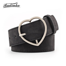 Badinka 2018 New Woman White Black Red Wide Suede Faux Leather Wast Belt Heart Shape Pin Buckle Designer Belts for Women Dress