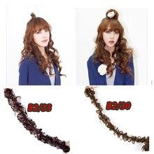 HiDoLA  fashion women DIY A long strip Multiple Synthetic Caterpillar Bread Curly Chignon Hair Extension Wig headwear