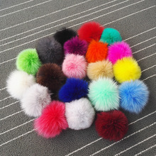 10pcs/lot 10cm Natural Real Fox Fur Ball Pom Poms Fluffy Fur Pompom DIY Women Kids Winter Hat Skullies Beanies Knitted Cap R12B