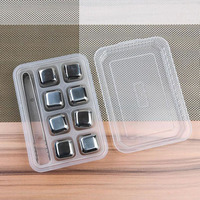 10set Lot Whiskey Wine Beer Stones Stainless Steel Cooler Stone Whiskey Rock Ice Cube With Plastic