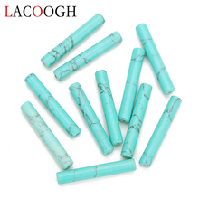 Hot Sale 1Stand/lot 6X36mm Natural Stone Bead Green Turquoises Beads Column Spacer For DIY Jewelry Making Finding