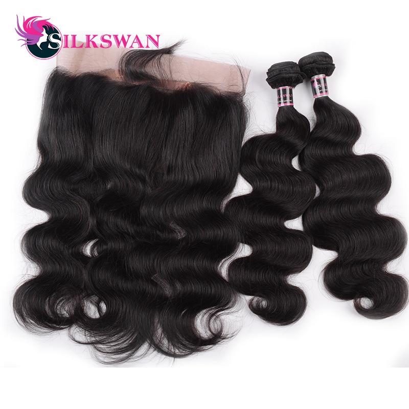 Silkswan Peruvian Hair Body Wave 2 Bundles With 360 Lace Frontal Closure Human Remy Hair Bundles