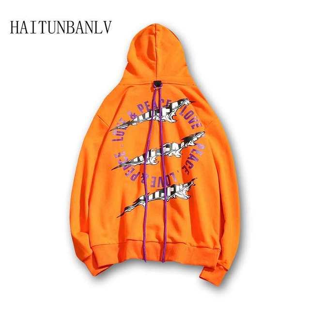 New Hip Hop Graffiti Ribbon Big Pocket Hooded Sweatshirt Casual Harajuku Fashion Pullover Hoodies Streetwear Male Fashion Tops