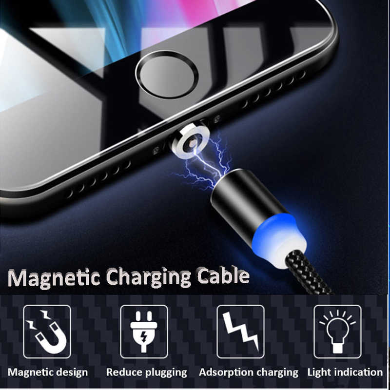 1m Magnetic Micro USB Cable 2A Fast Charging LED Light Cable Type C 8 pin Magnet Charger for iphone for Samsung for Xiaomi