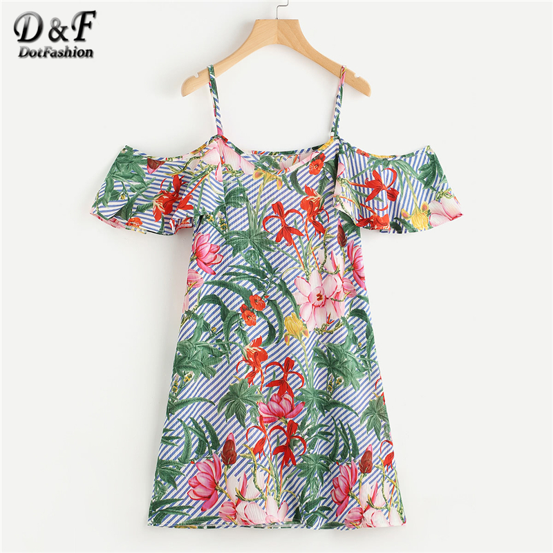 Dotfashion Random Jungle Print Striped Dress 2018 Summer Cold Shoulder Short Sleeve Dress Ladies Spaghetti Strap Beach Dress