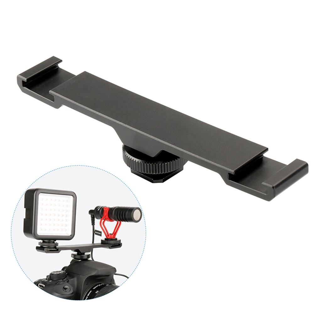 Mic-Adapter Camera-Accessories Cold-Shoe-Mount Bracket-Bar-Plate Microphone Flashlight