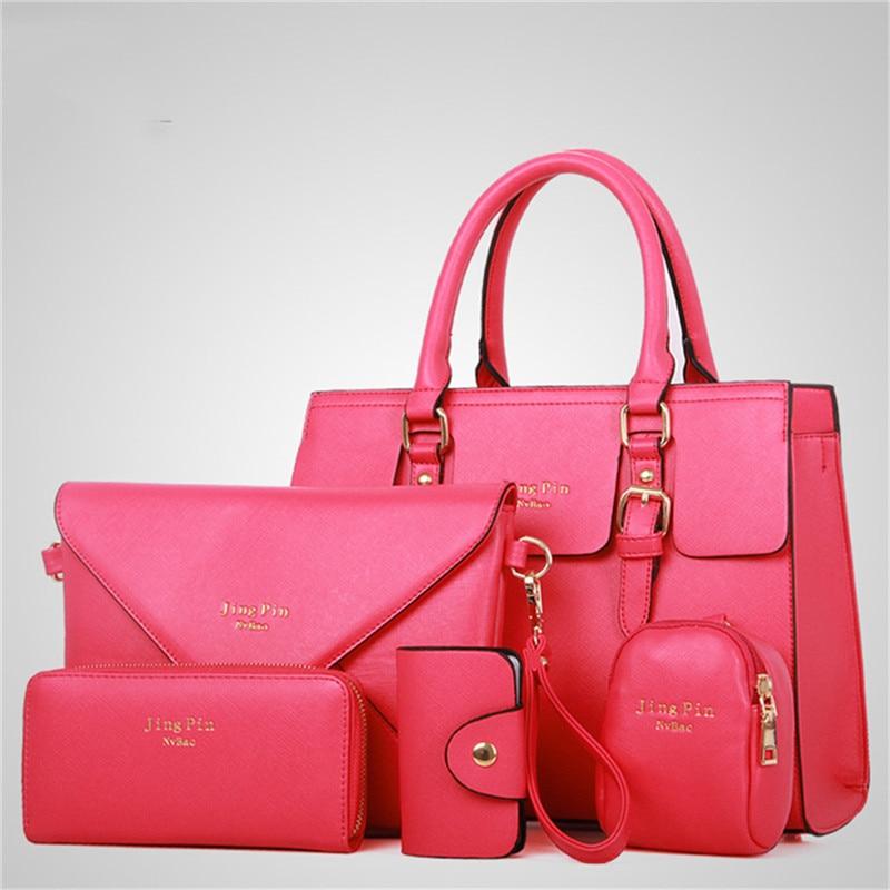 Ensemble Sacs pour femmes 5 pièces/ sac à main Imitation cuir sac à bandoulière 6 couleurs dames sac en cuir synthétique polyuréthane