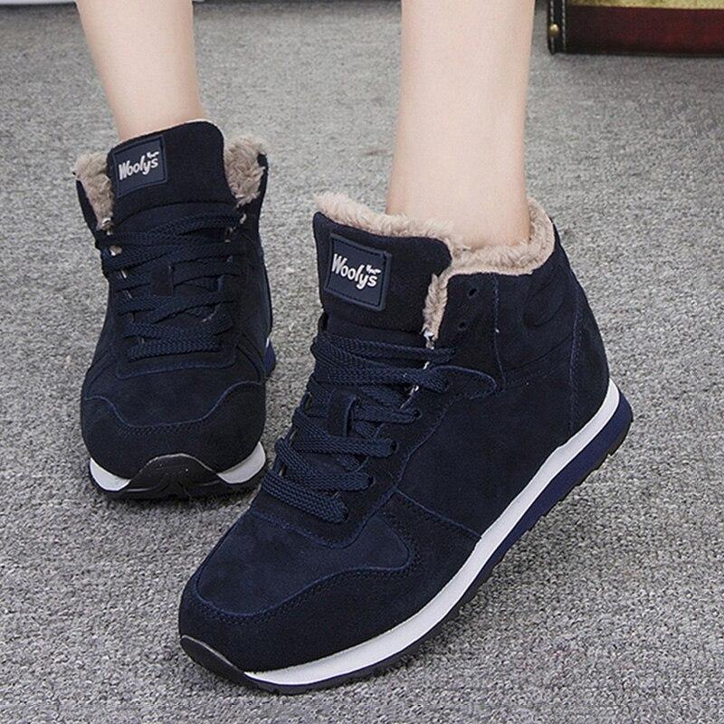 2018 zapatos de mujer zapatos de piel de cuero suave de las mujeres zapatillas de deporte de nieve de invierno de las mujeres vulcanizar zapatos Chaussures mujer Casual más zapatos de tamaño